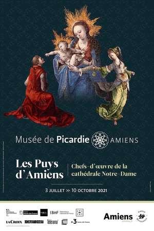 """Affiche """"Les Puys d'Amiens-Chefs-d'oeuvre de la cathédrale Notre-Dame"""" 3 juillet au 10 octobre 2021 © Création graphique - Agence Avril"""